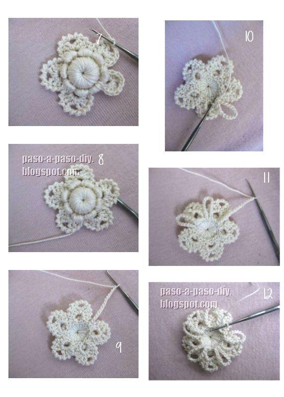 aprende a tejer una flor con técnica de crochet irlandés ...