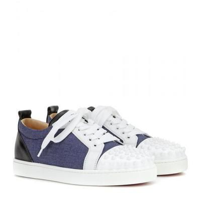 b0e075d5479 Christian Louboutin - Louis Junior Spikes denim and leather sneakers  shoes   christianlouboutin  offduty  kids  designer  covetme