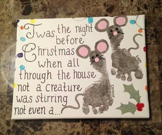 Night Before Christmas Mouse Footprint Craft