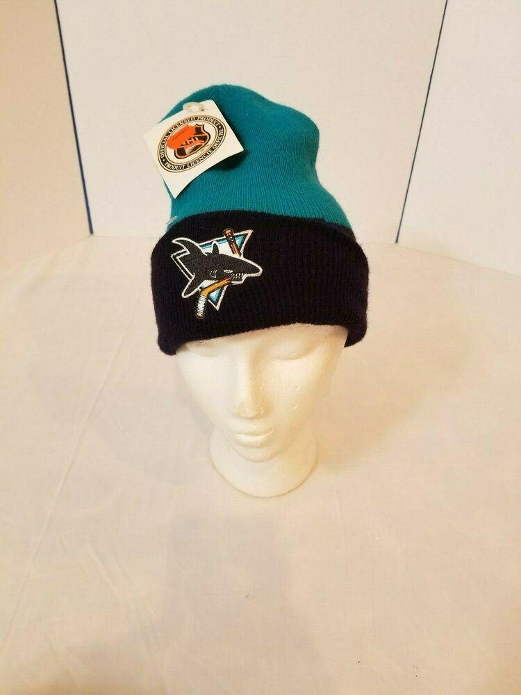 San Jose Sharks 2-Tone Vintage Knit Cuffed Beanie Ski Winter Cap Hat New OS
