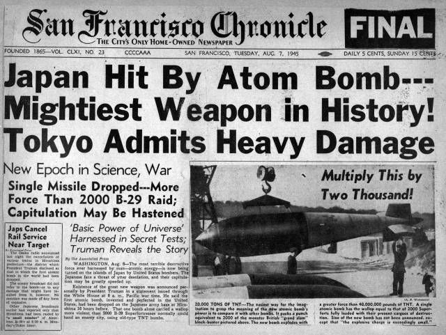 Atomic Bomb Dropped On Hiroshima Japan 06 August 1945 The Headline In New York Times 07