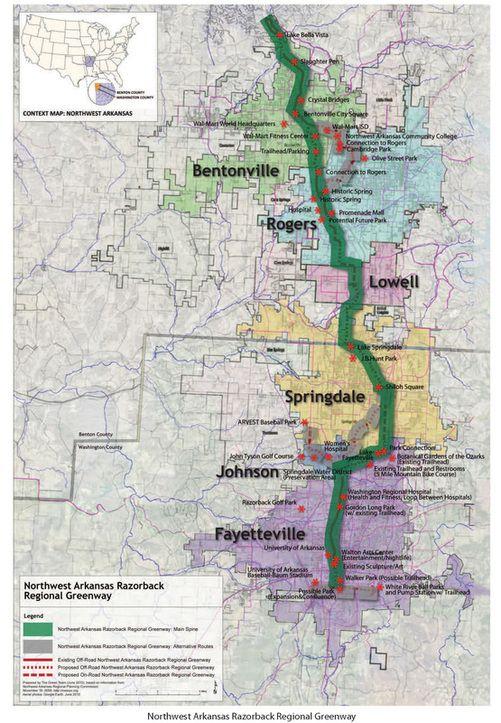 Northwest Arkansas Maps : northwest, arkansas, Razorback, Regional, Greenway, Arkansas, Trip,, Trips,, Bicycle, Trail