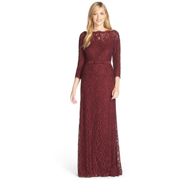 Tadashi Shoji Illusion Lace Gown ($233) ❤ liked on Polyvore ...