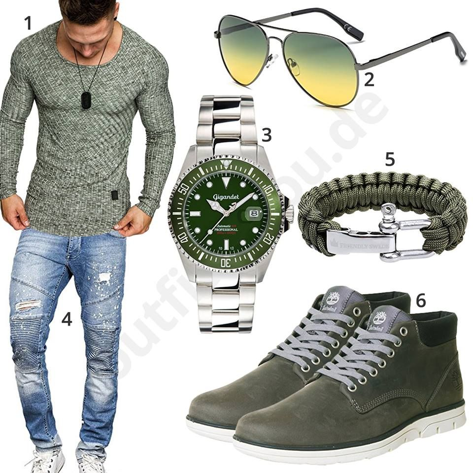 gr nes herrenoutfit mit longsleeve uhr armband und sonnenbrille pinterest jeans outfits. Black Bedroom Furniture Sets. Home Design Ideas