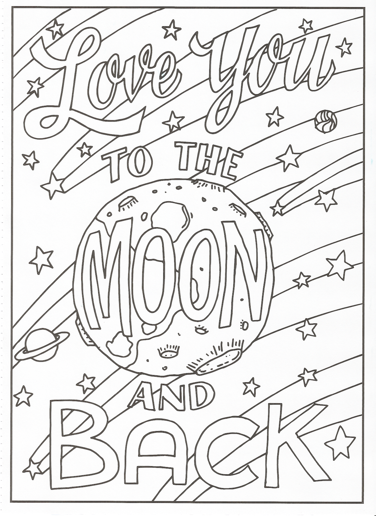 Timeless creations creative quotes coloring page love you to the moon and back