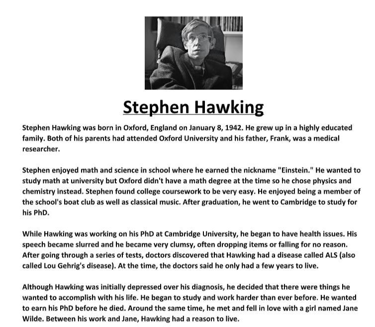Stephen Hawking Biography Worksheet Essay Writing Skill Reading Comprehension Worksheets On Einstein
