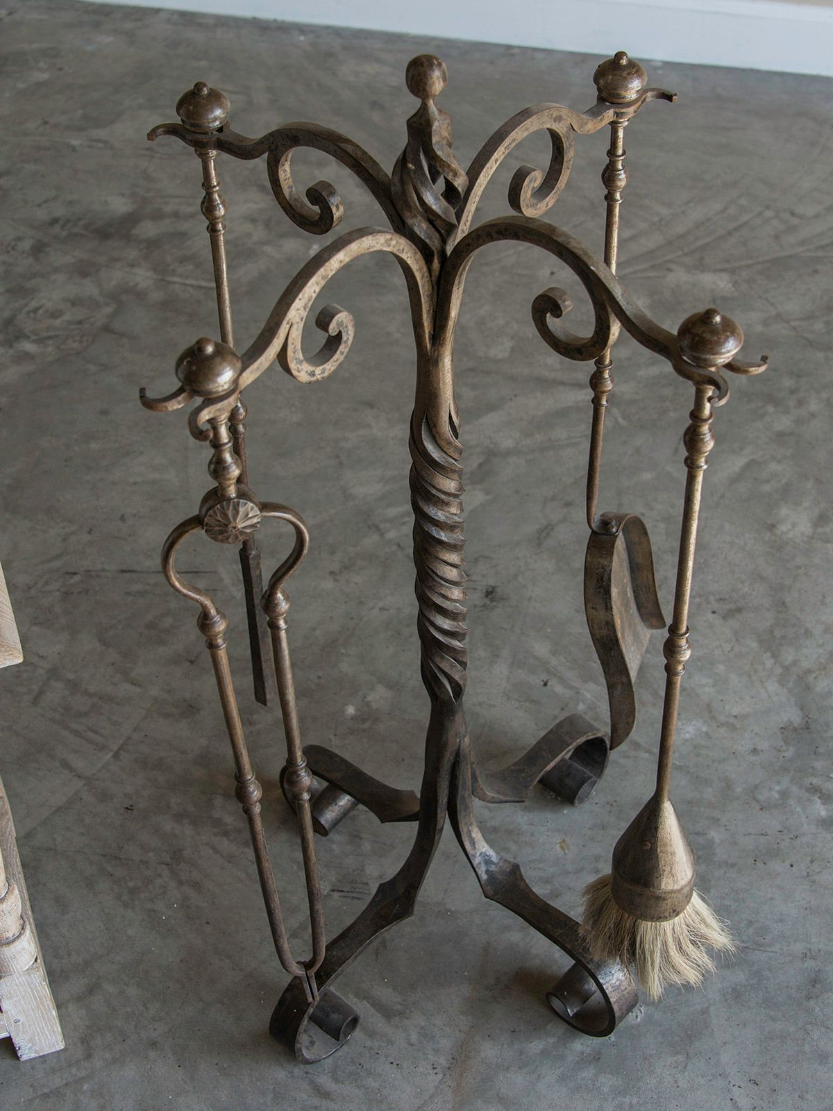 set of french forged iron fireplace tools belle époque period