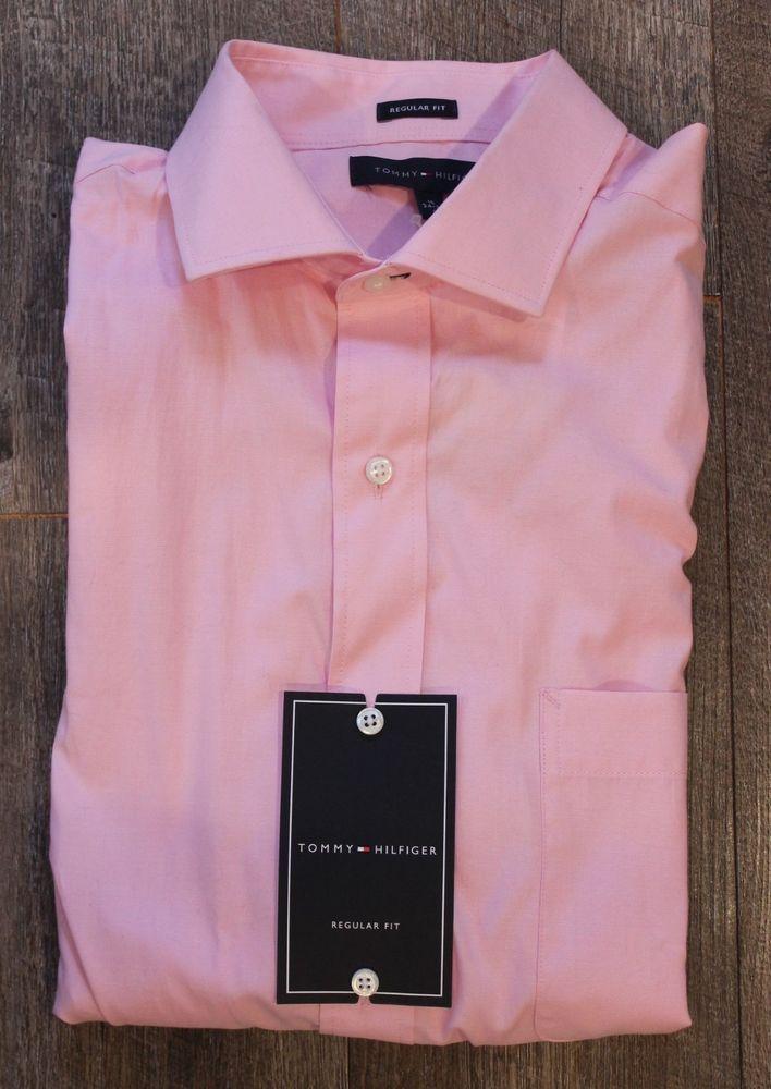 dc6f3c0c Tommy Hilfiger Pink Mist Dress Shirt Size 16 Large 34-35 Sleeves NWT Pocket  #TommyHilfiger