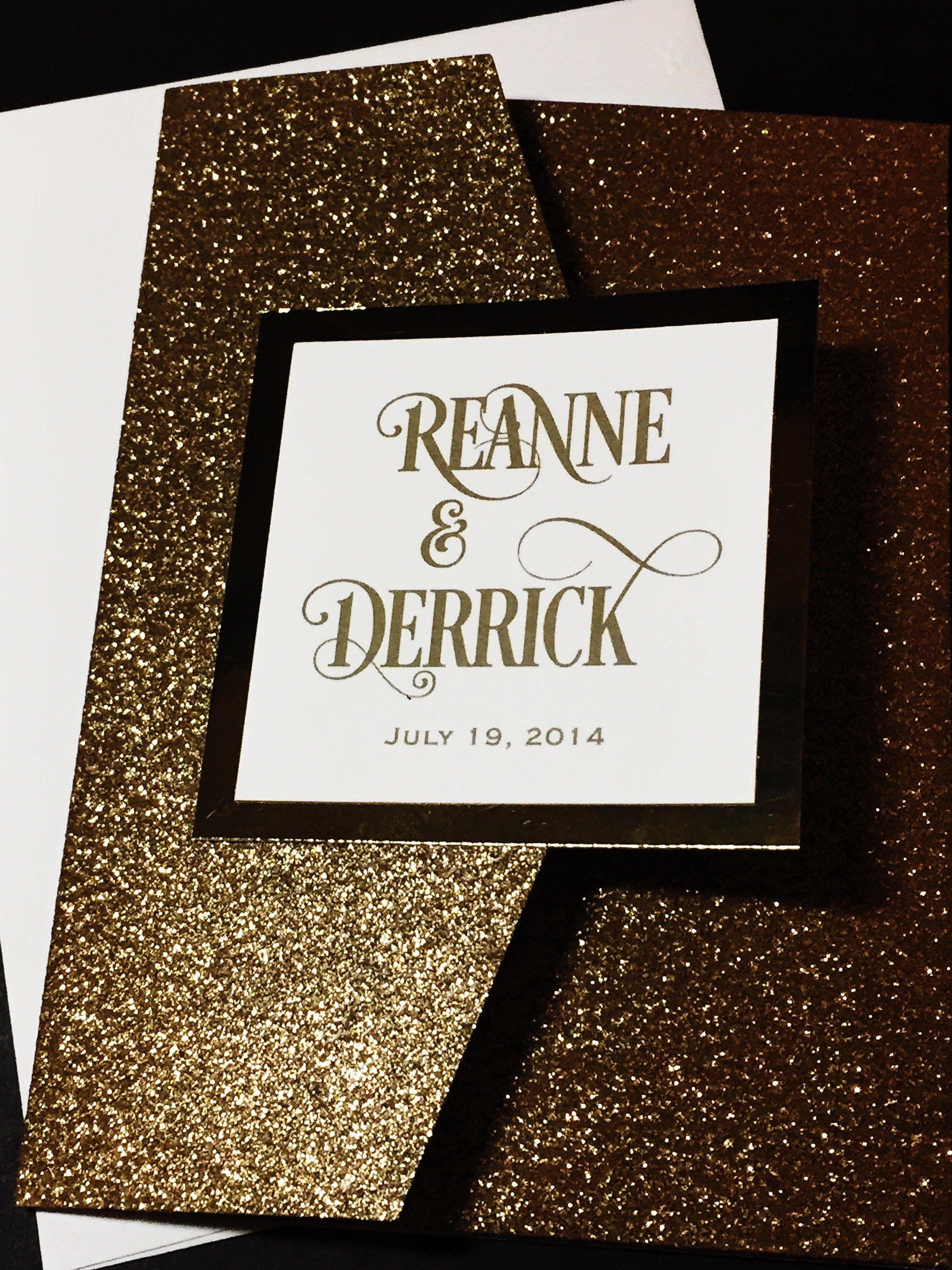 Gold Glitter Wedding Invitation, Luxury Wedding Invitation, Elegant ...
