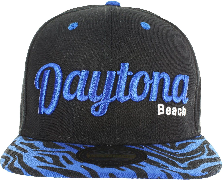 DAYTONA BEACH ANIMAL PRINT ZEBRA SNAPBACK BASEBALL CAP - BLACK AND BLUE at… 84093834d796