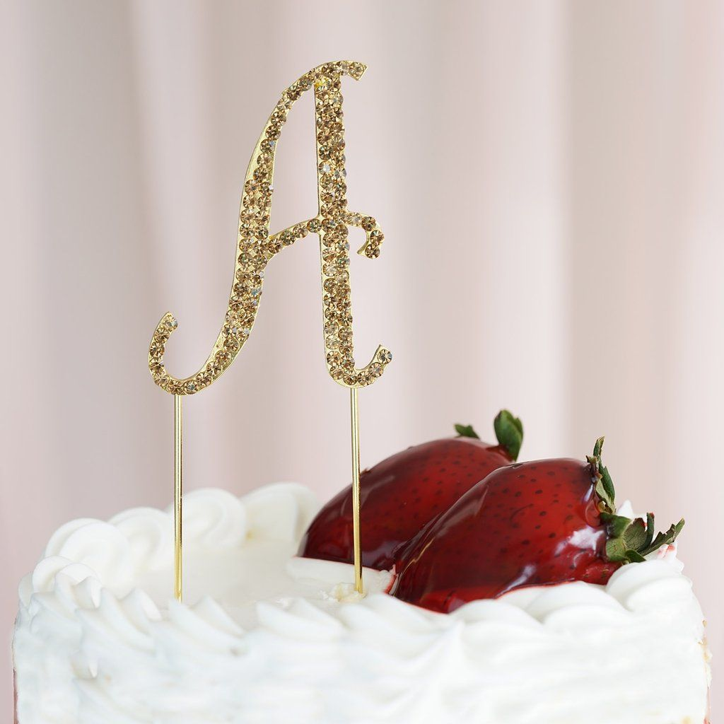 25 gold rhinestone letter cake toppers in 2020