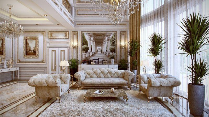 mobilier baroque capitonné de velours blanc et tapis shaggy - luxus wohnzimmer einrichtung modern