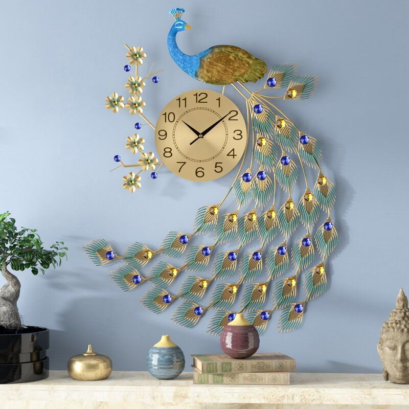 Oversized Dule Peacock Wall Clock Wall Clock Gold Wall Clock