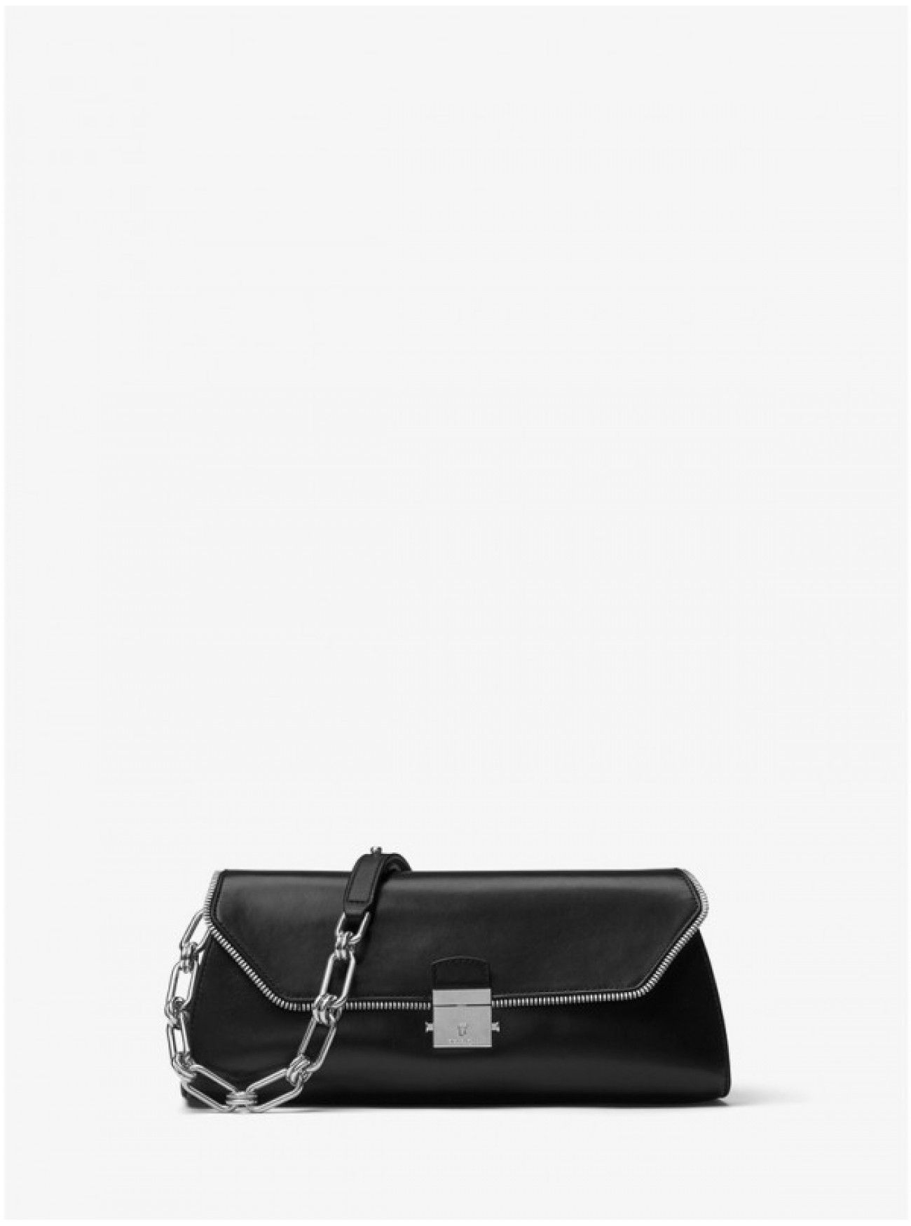 daa08581e6ef Online Michael Kors Collection Mia Zipper Leather Framed Shoulder Bag Black  Cheap