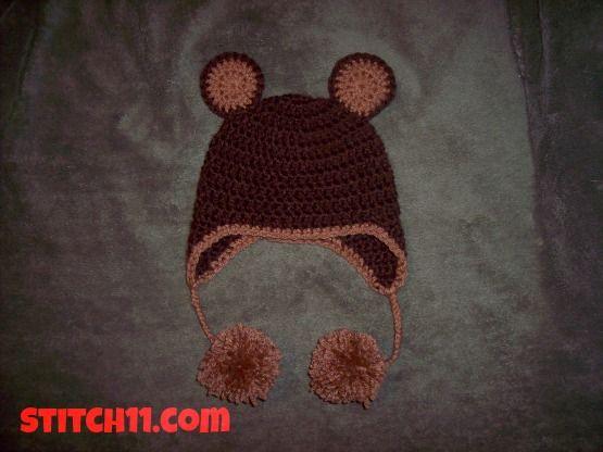 0-3 Mes Oso Sombrero | CROCHET gorros sombreros capuchas viseras ...