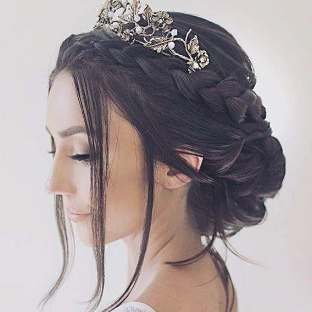 Braided Updo With A Tiara For Brides In 2020 Hair Styles Quince Hairstyles Braided Hairstyles For Wedding