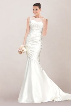 Graceful Satin Mermaid Wedding Gown Featuring Asymmetrical Pleats and Illusion Panel