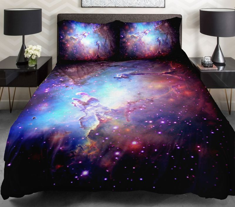 3d Duvet Cover Printing Galaxy On Blue Sheets And Outer Space