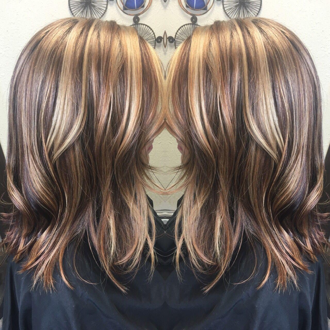 Copper Brown Beige Blonde Carmel Multi Tonal Highlight Lob Olaplex Light Hair Color Brown Hair With Blonde Highlights Beige Blonde