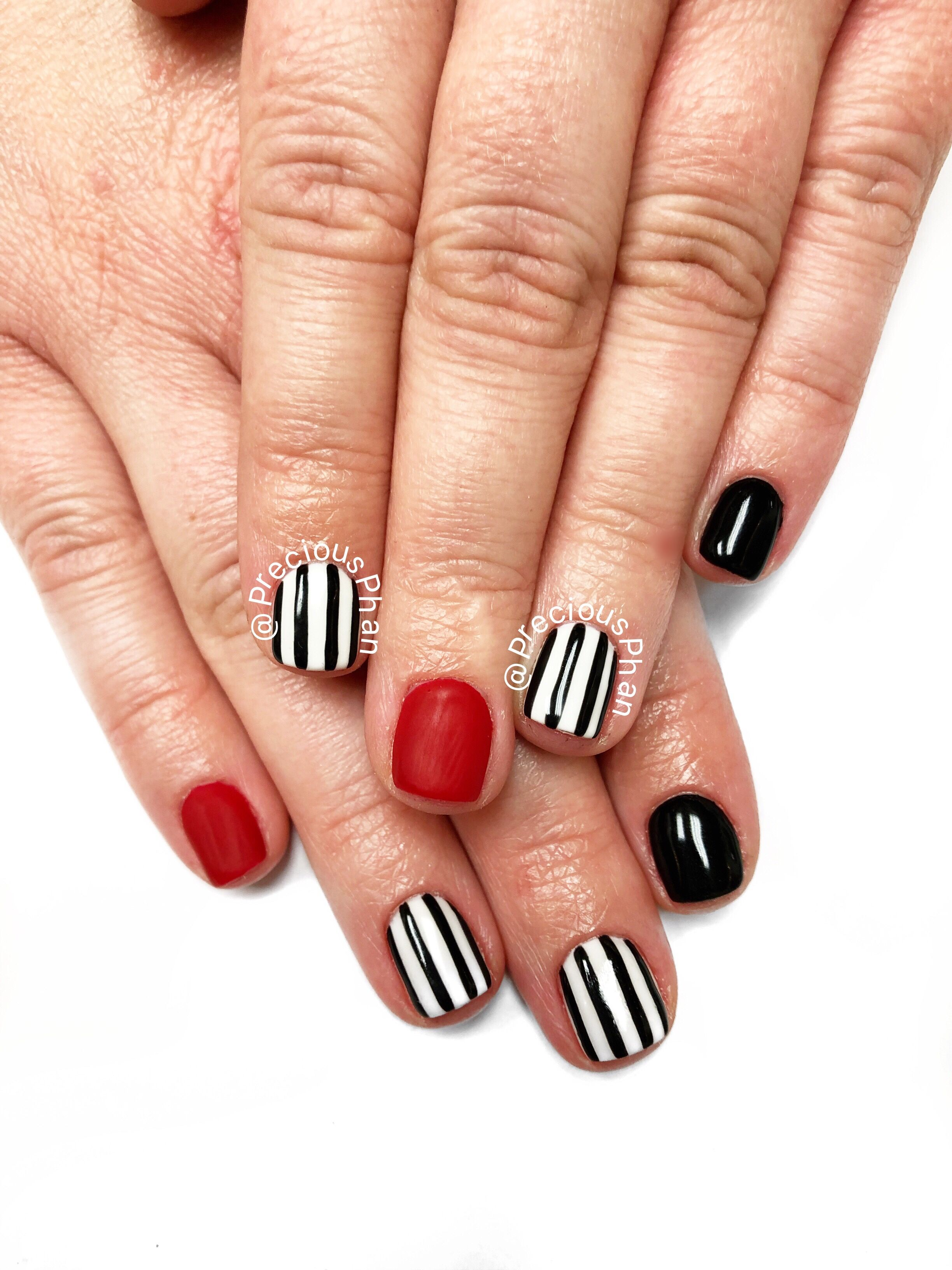 Red white and black nails. #PreciousPhan black and white ...