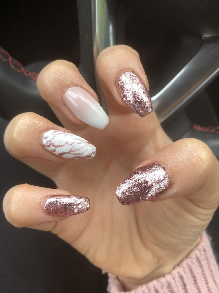 47 Gorgeous Rose Gold Nail Design Summer For Pretty Brides Rose Gold Nails Gold Nails Marble Acrylic Nails