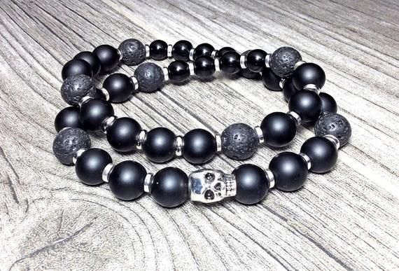Mens Skull Bracelet Double Wrap Black Onyx Silver Gemstone