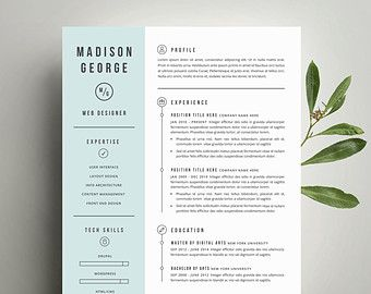 Free Modern Resume Templates Modern Resume Template And Cover Letter Template For Word  Diy