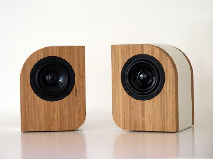 Serene Audio The Pebble Passive Speakers. Exterior made out of bamboo and  leather. $395