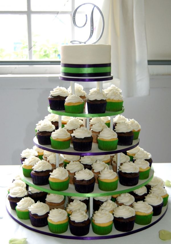 The Cake On Top Would Be Different Purple Wedding Cupcakes