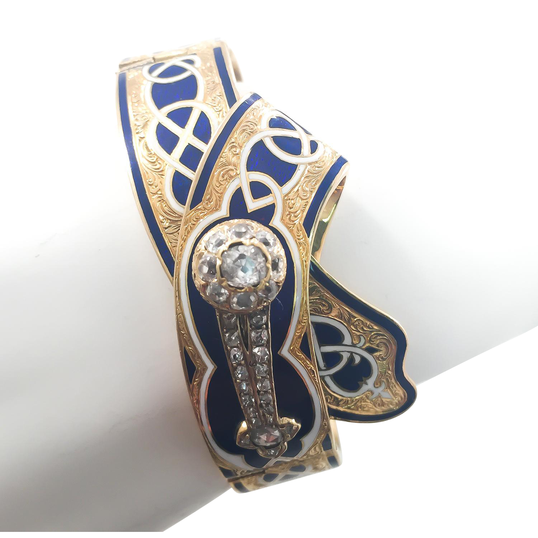 18k Victorian Enamel Bracelet with Diamond Comet