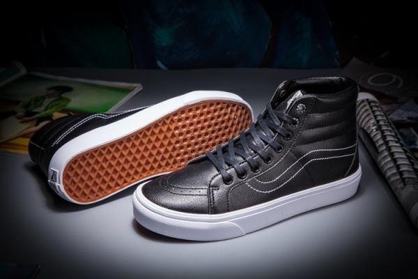 a1faf2feb5e Vans Curve Leather SK8-Hi Classics Black True White Womens Shoes  Vans
