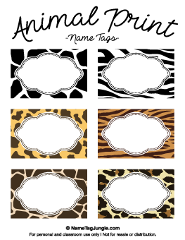 Animal Print Name Tags Other Designs On This Site Too Printable