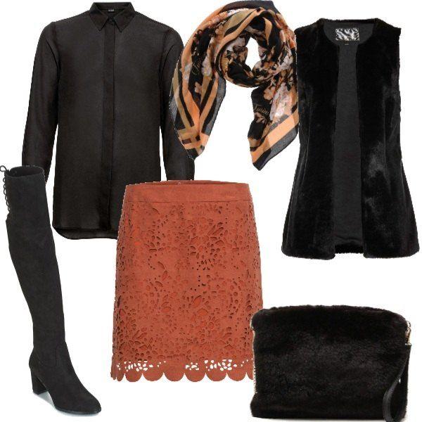 Chic ispirazione parigina in nero e cognac, focus sulla gonna con  lavorazione laser. camicia 8e8bd34b26e
