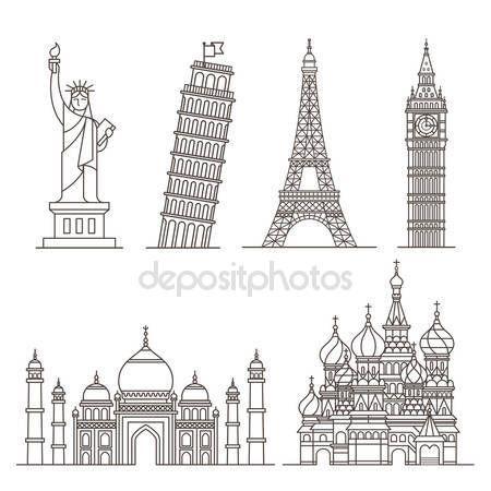 Icones De Marco Estatua Da Liberdade Torre De Pisa Torre Eiffel