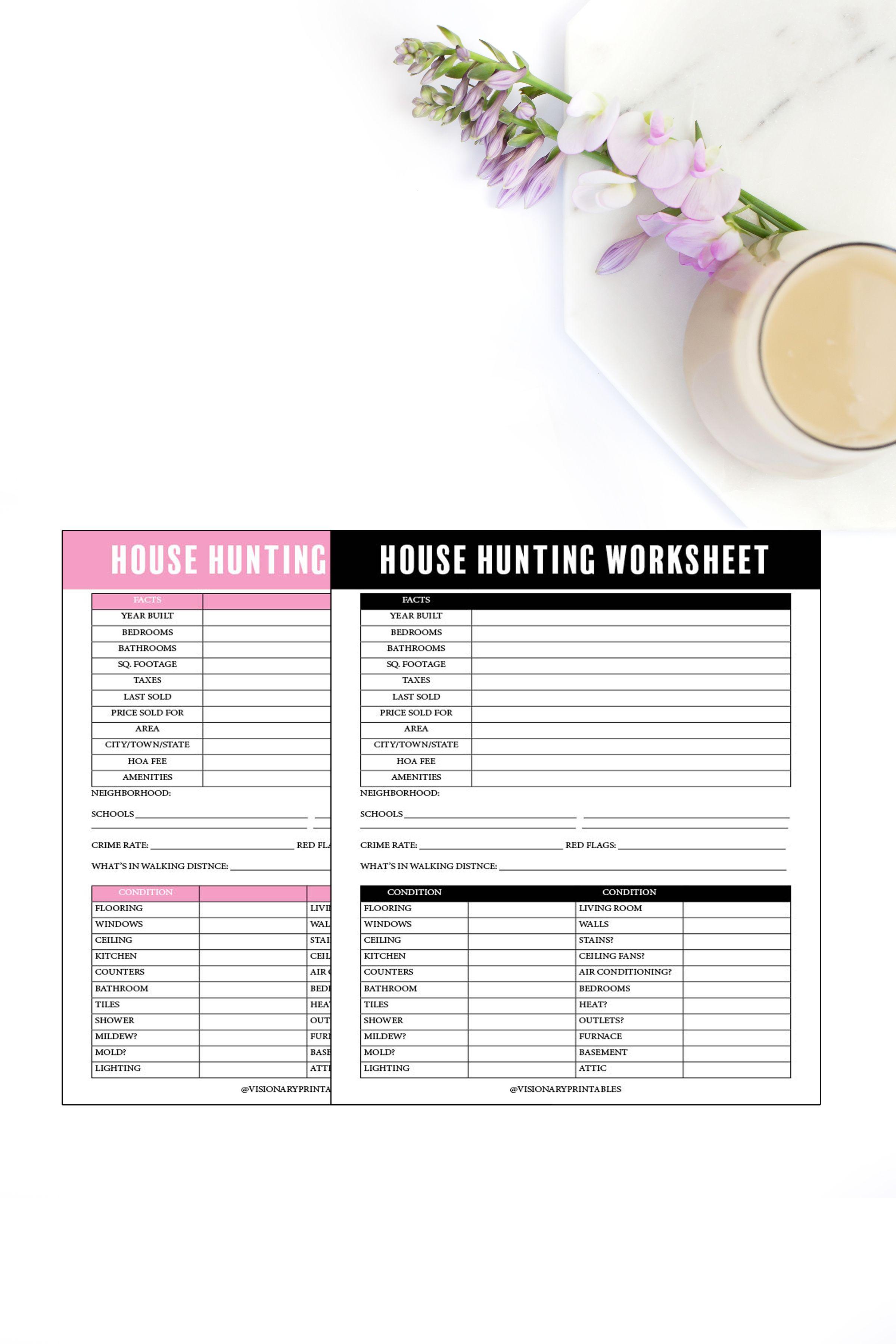 House Hunting Worksheet Dream Home Worksheet Home