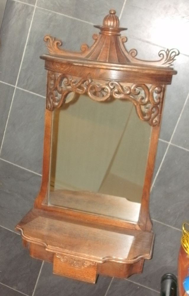 Antique Rococo Oak Wood Vintage Hall Wall Mirror With Shelf And