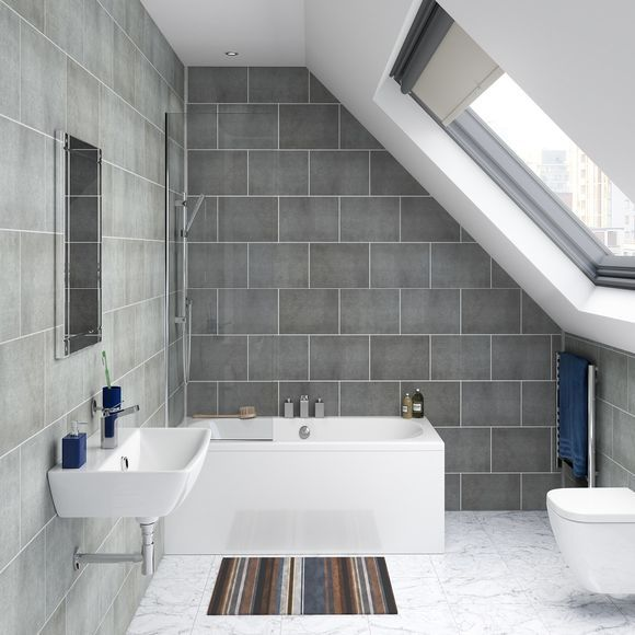 Proplas Pvc Wall Panelling Stone Grey Tile Prt1 All The Style Of Tiles Without The Cost Fussy Fitting Mess Bathroom Cladding Pvc Wall Panels Tile Cladding