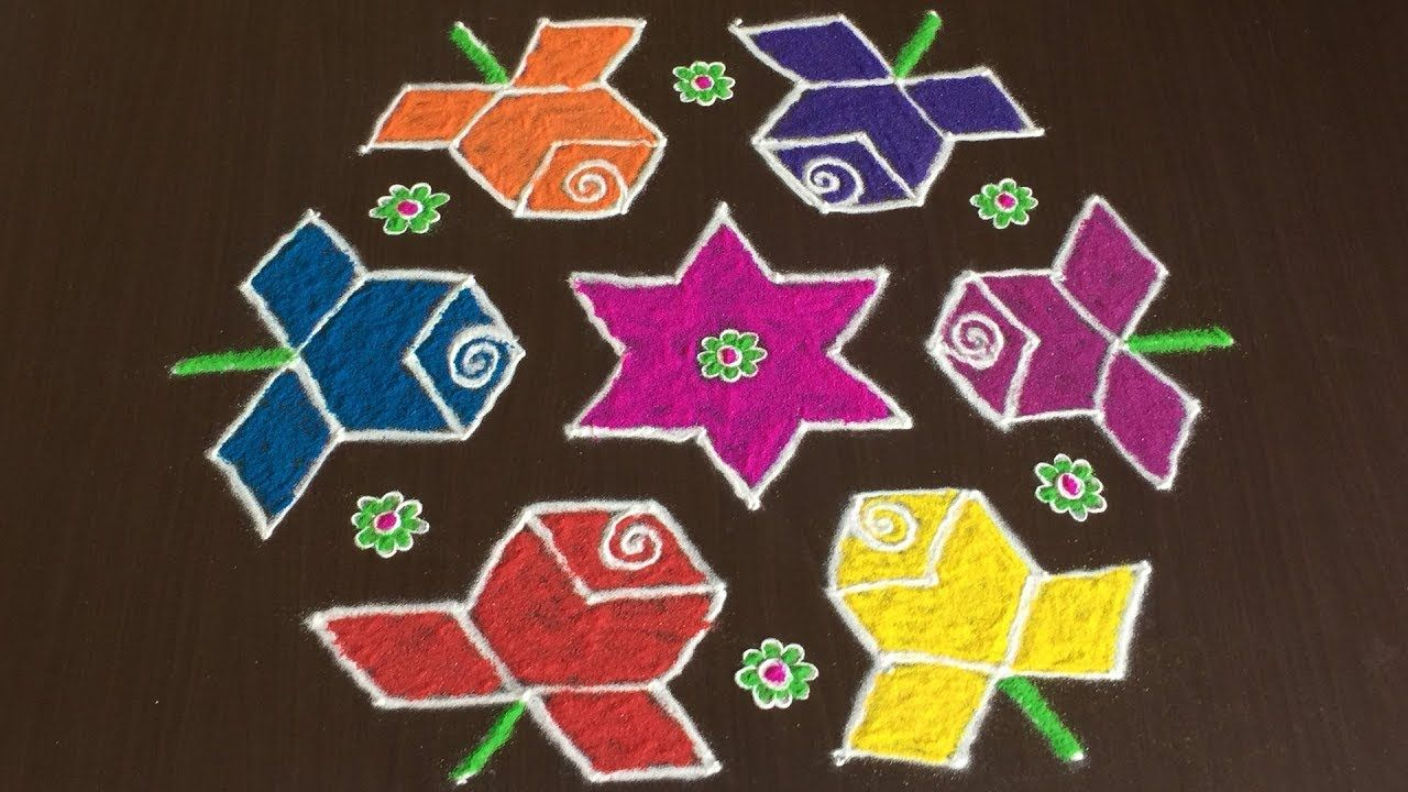 Sankranti Rose Flowers Muggulu With 11 To 6 How To Draw Rose Rangoli Colorful Rangoli Designs Roses Drawing Rangoli Designs With Dots
