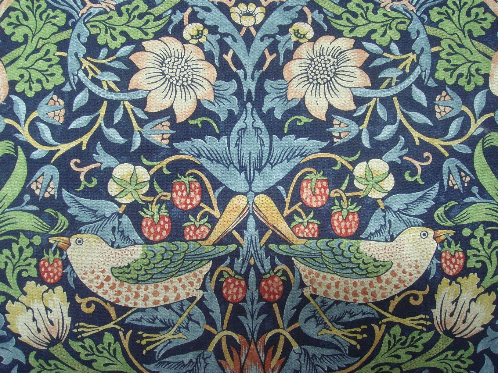 William Morris Strawberry Thief Curtain Fabric [Indigo