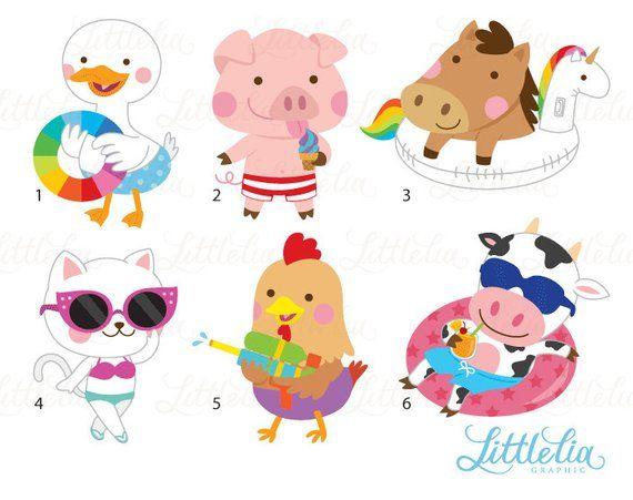 Farm Animal Pool Clipart Summer Clipart Pool Clipart Etsy In 2021 Summer Clipart Clip Art Baby Farm Animals