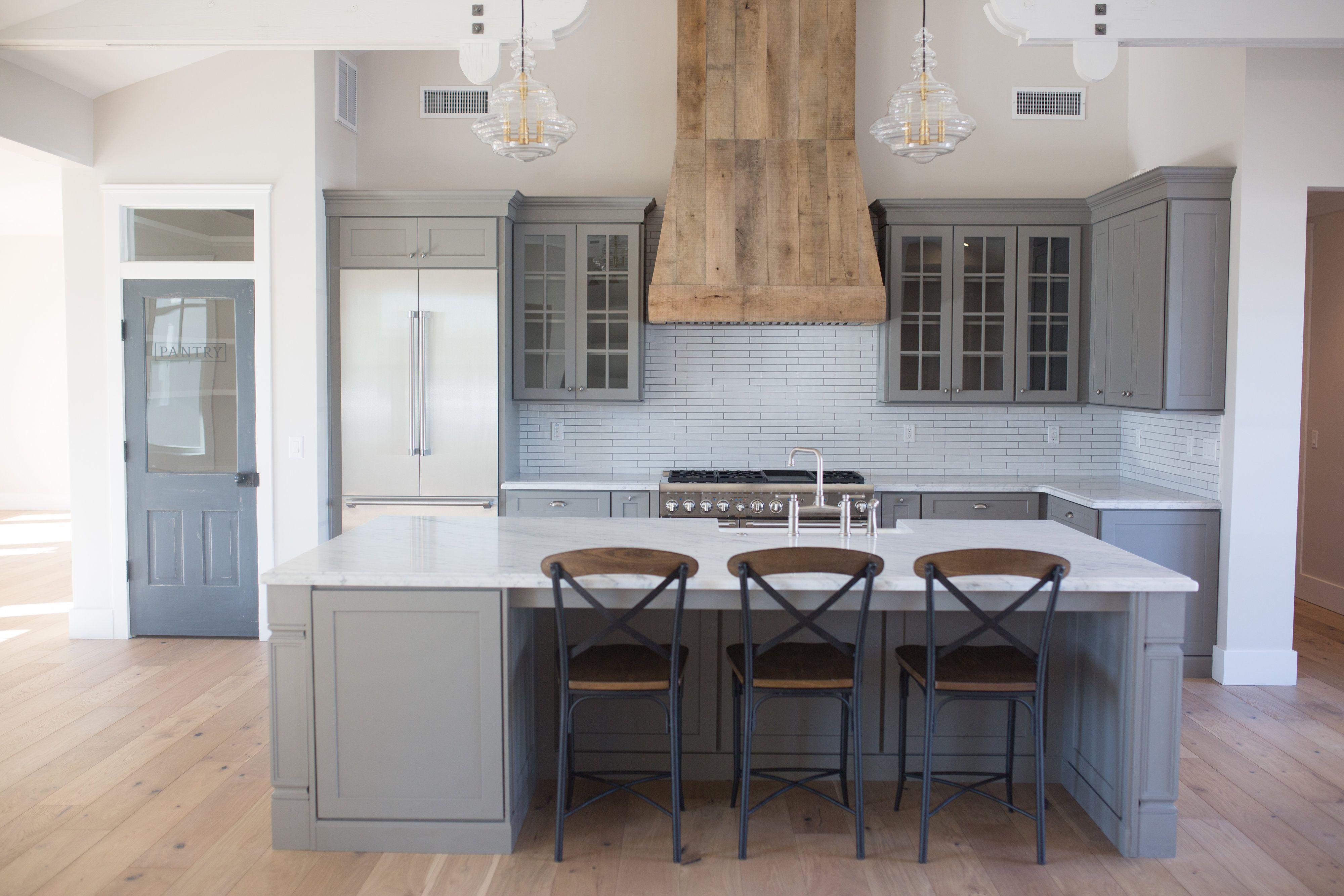 grey farmhouse kitchen open concept custom barnwood hood pantry door custom kitchen on farmhouse kitchen gray id=80031