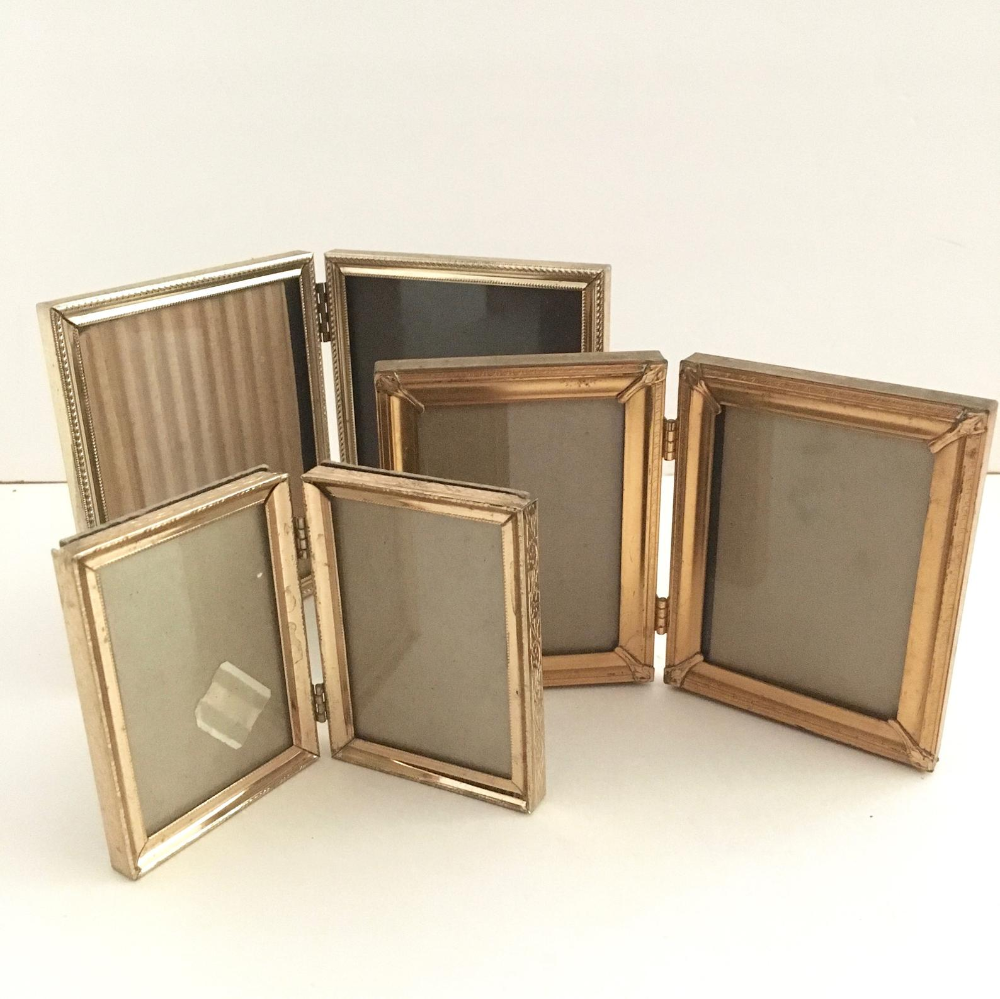 vintage wooden double bifold photo frame