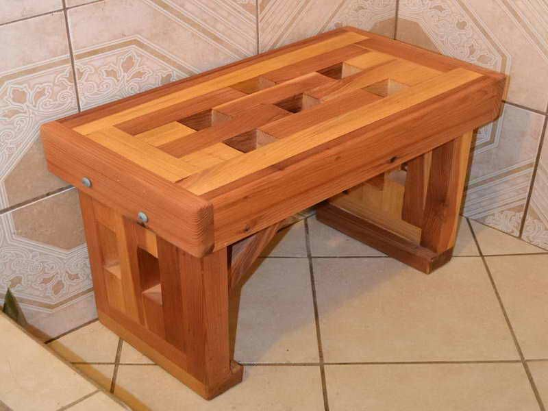 Phenomenal Cedar Shower Bench Wood With Ceramic Floor Building My Download Free Architecture Designs Grimeyleaguecom