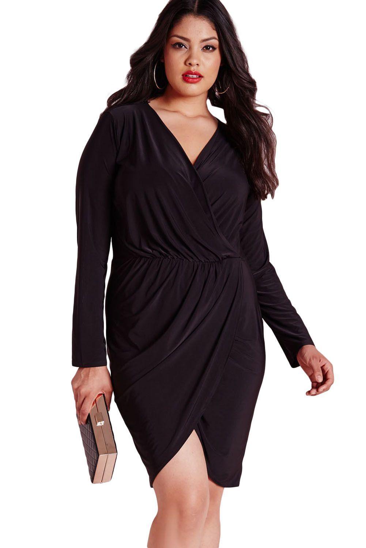 Black plus size slinky wrap dress products pinterest products