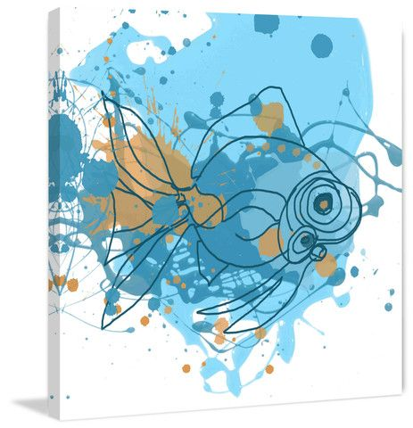 Blue Fish - Marmont Hill. Abstract art on canvas, also available as framed art. Shipped ready to hang.
