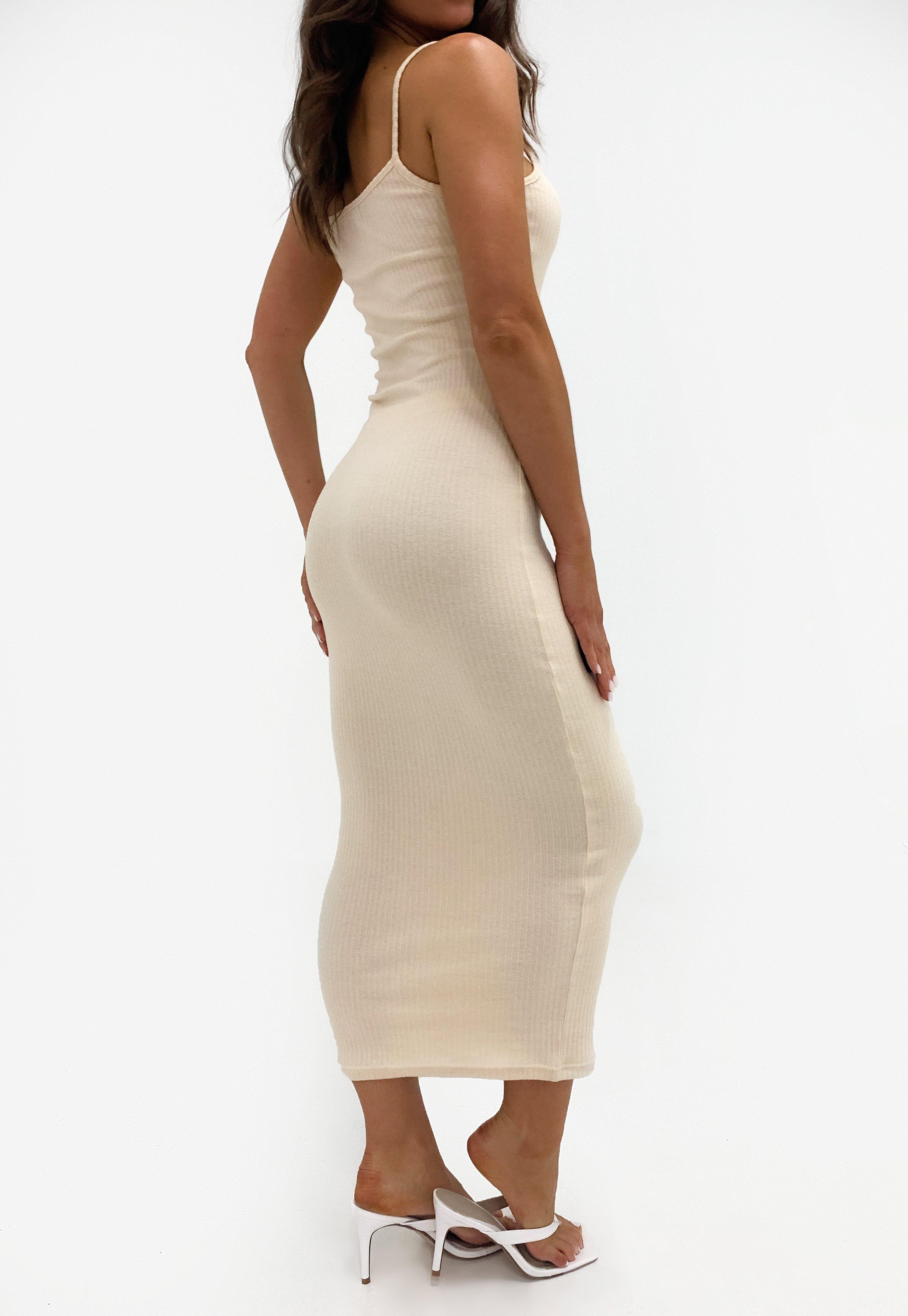 Missguided Sand Rib Strappy Midi Dress Strappy Midi Dress Midi Dress Cami Midi Dress [ 4200 x 2900 Pixel ]