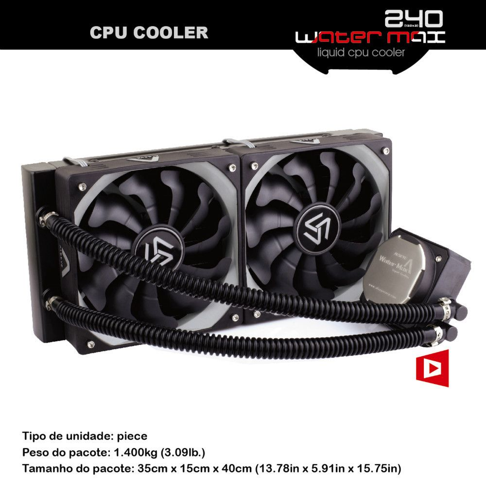 Alseye 240 Water Cooling For Pc Cpu Cooler Tdp 320w 2pieces 120mm