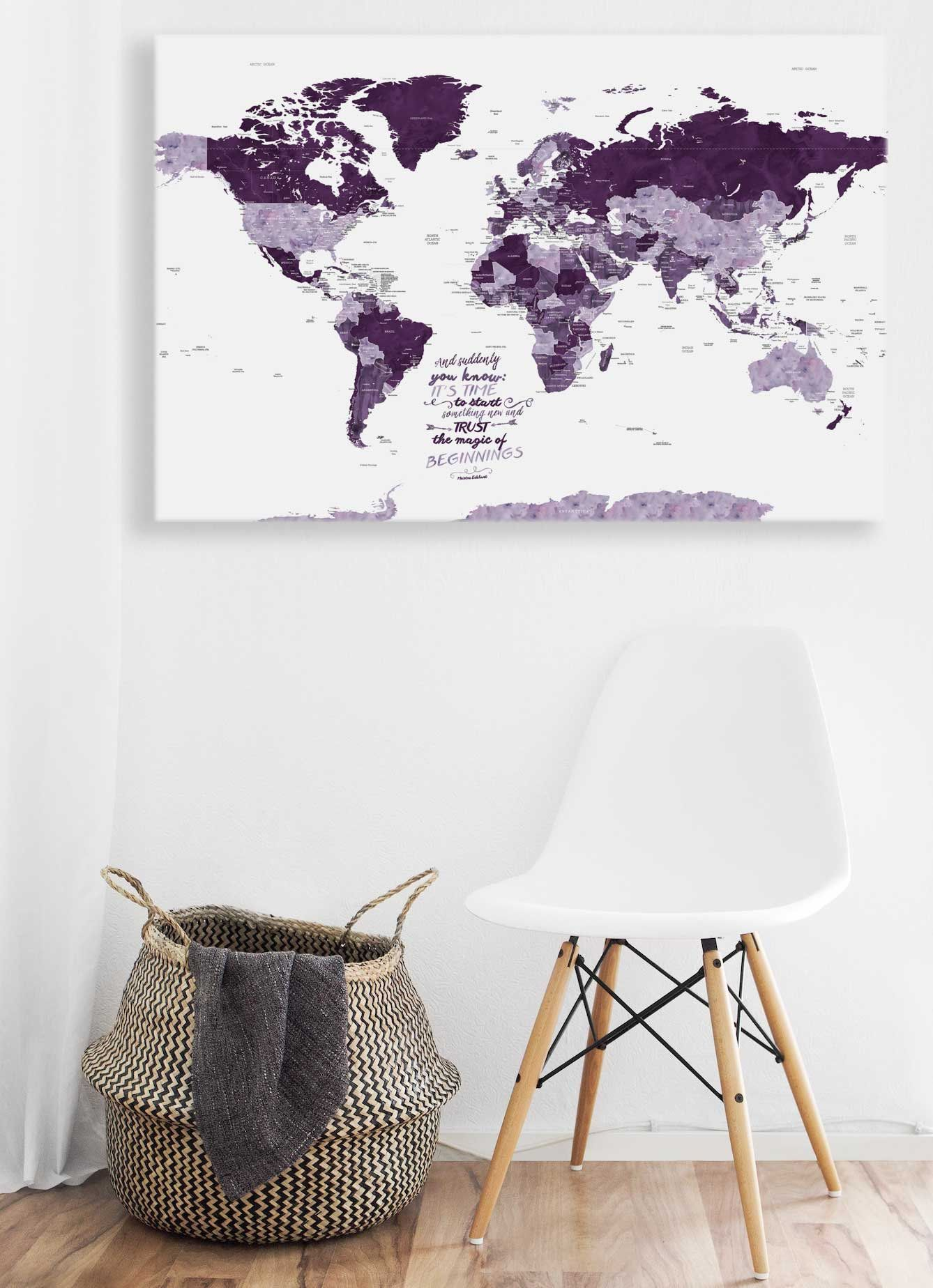 2nd Anniversary Gift Gift For Wife 5th Anniversary Gift World Map Canvas Personalized Gift World Map Push Pin Canvas Anniversary Gifts 2nd Anniversary Gift 1st Anniversary Gifts