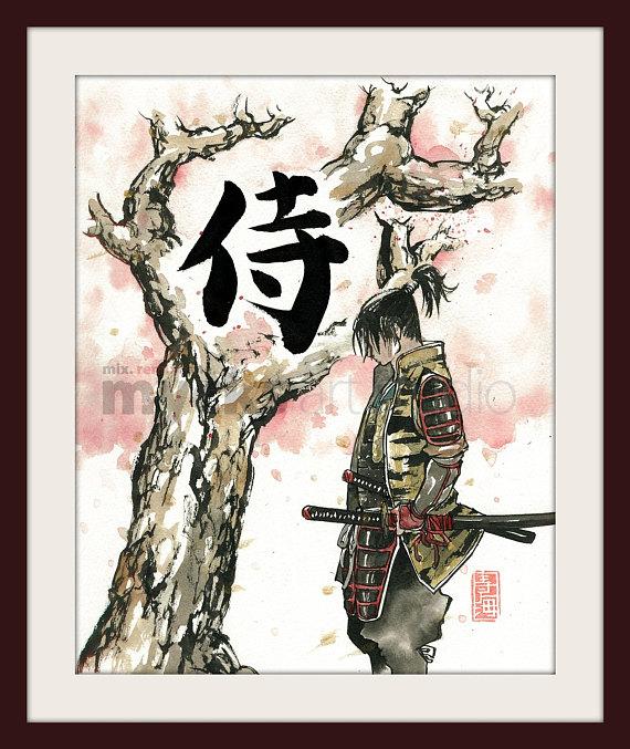 Print Samurai Under Sakura Cherry Blossoms Tree 8x10 Etsy Cherry Blossom Tree Sakura Cherry Blossom Samurai