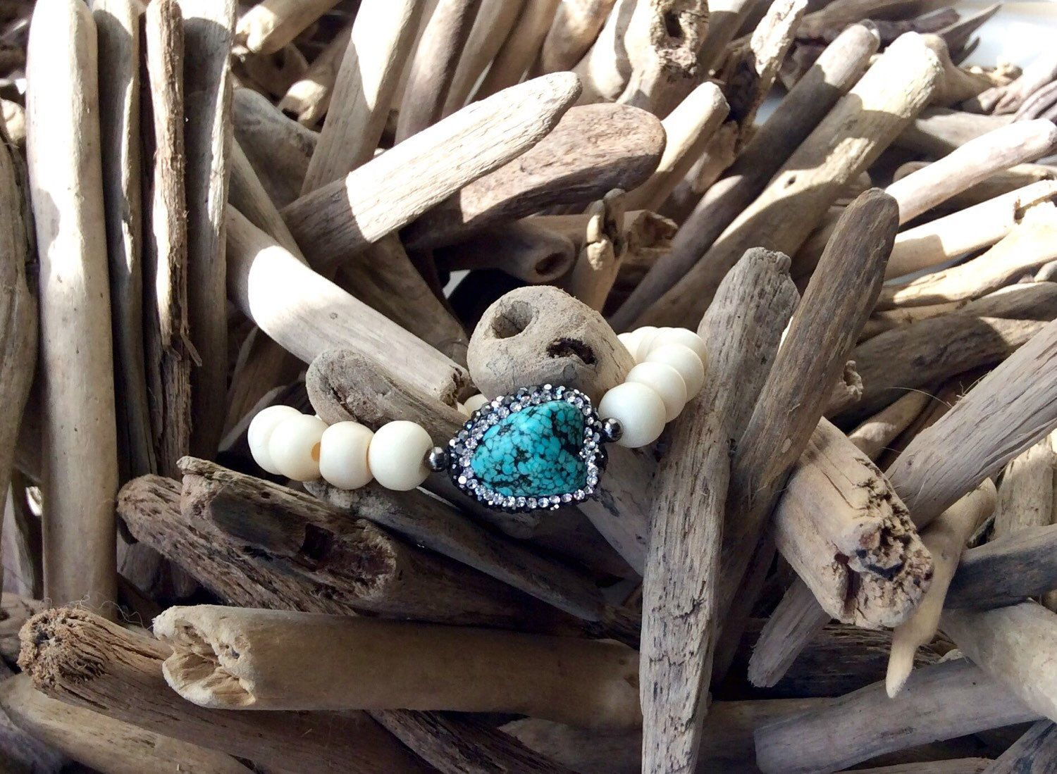 Stackable bracelet of turquoise, crystal and bone on stretch cord by P2DCollection on Etsy https://www.etsy.com/listing/255747588/stackable-bracelet-of-turquoise-crystal